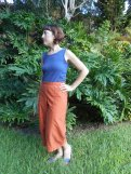 Rust Organic Cotton Twill Holly/B5504 Pattern Hack Capri's