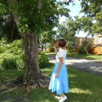 Ice Blue Twill Burda Midi Skirt + Simple White Scoop Neck Tee