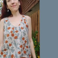 Orange Poppies Self Drafted Tank