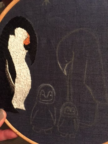 Penguin embroidery 1