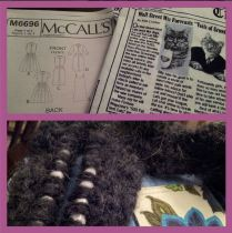 Day 4: WIP. Two #WIPs at the moment. The bulky cowl from @andisatt on tuts+ and my M6696 for the #catladysewingchallenge and #1000shirtdresses The dress isn't even cut out completely yet. I need to make some decisions on solid black accents and I have to do a large bicep adjustment for the sleeves first, but I'll get there. #bpsewvember