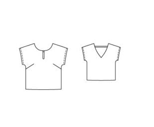 Triangle Back blouse Burda Style 2016-04-114 Line Drawing