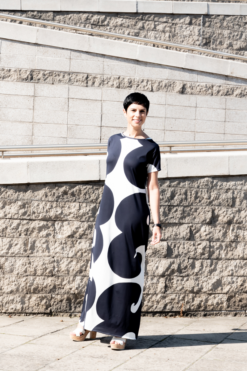 T-shirt maxi dress in jersey viscose fabric similar to Marimekko