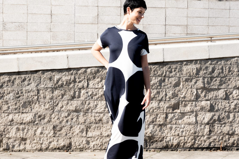 Early September is still summer | Marimekko(-ish) t-shirt maxi dress