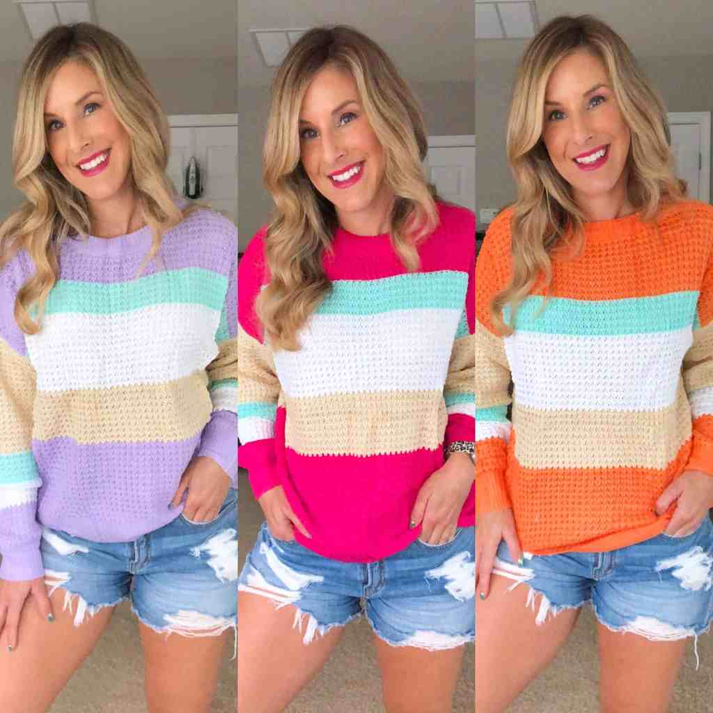 multi colored block sweater