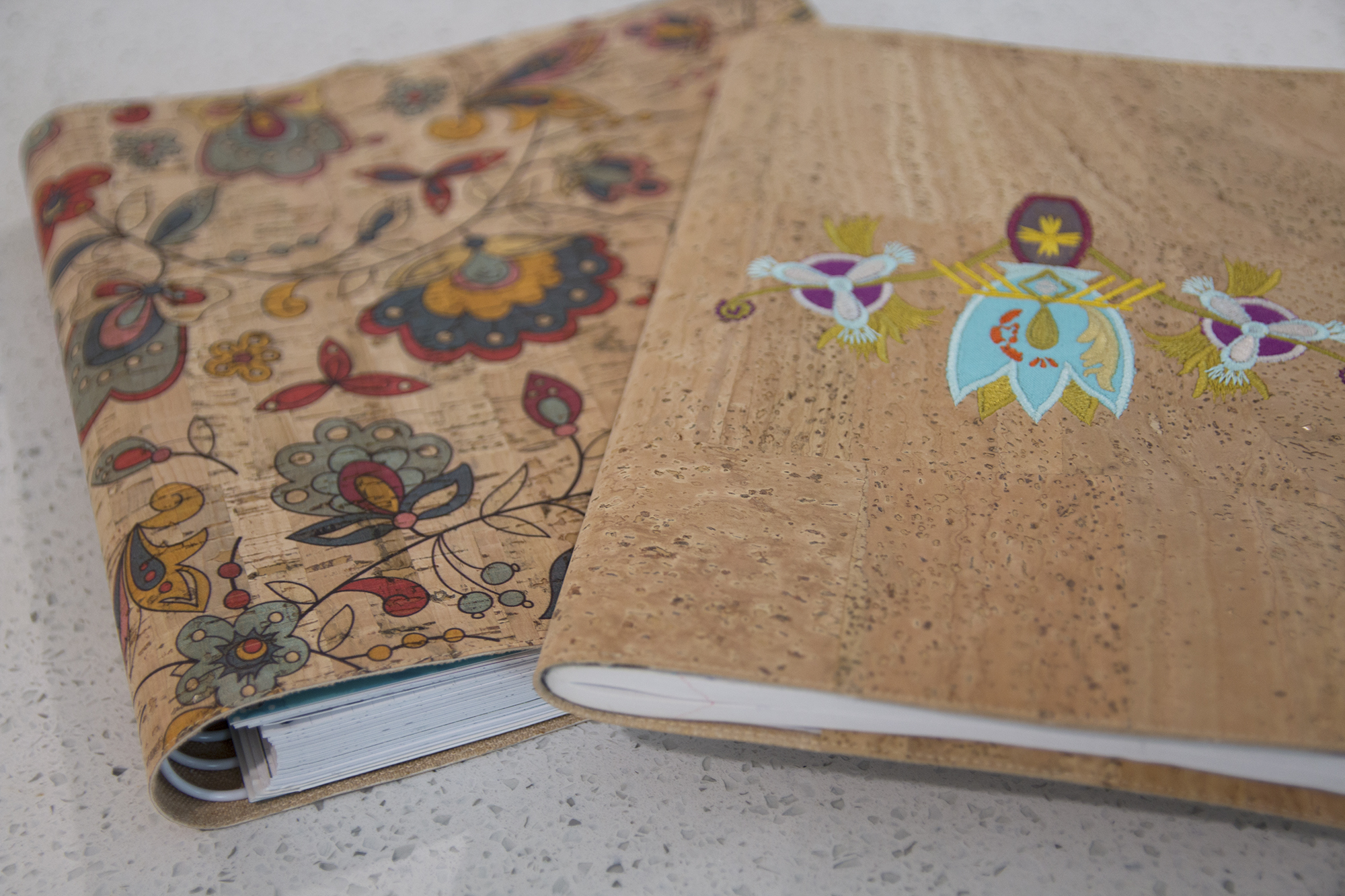 Fabric Composition Book Cover Tutorial ~ New free video easy cork or leather notebook cover sew sweetness