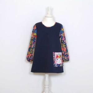 Mädchenkleid 86 - 122 mit Miezen