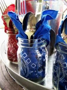 Mason Jar Table Settings, July 4th Party