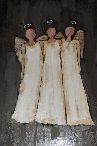 Completed Christmas Angels, Paint your own Christmas Angels