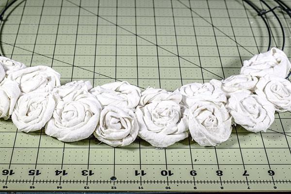 Make a drop cloth rosette wreath