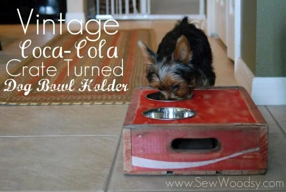 vintage coca-cola crate turned dog bowl