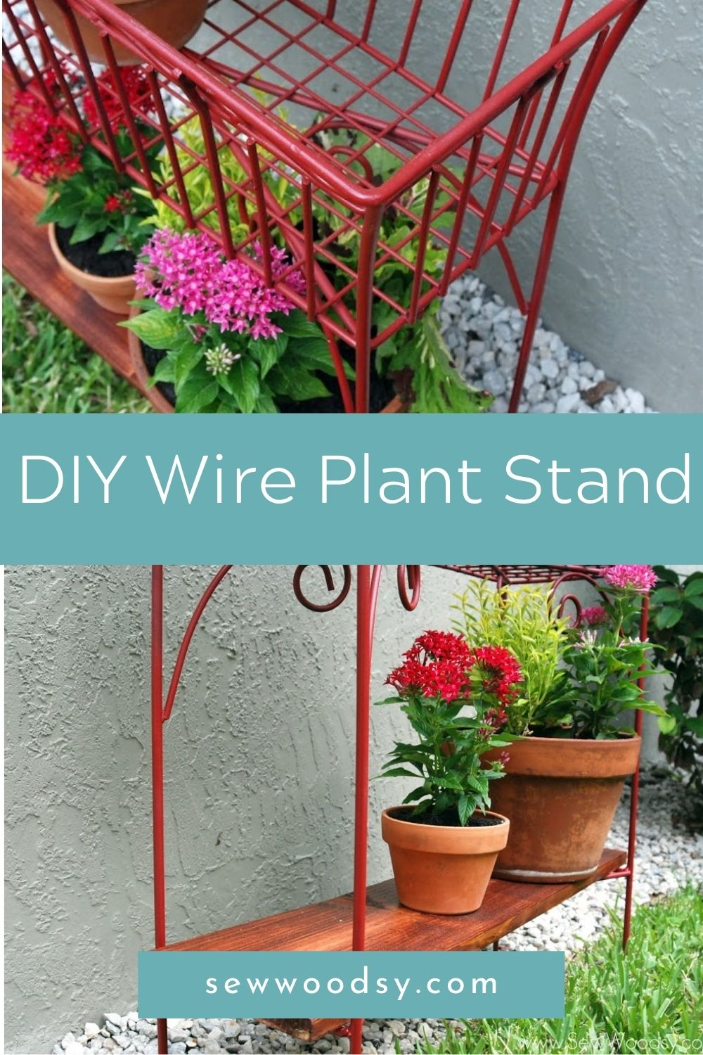 Two photos of a red wire plant stand split by text on image for Pinterest.