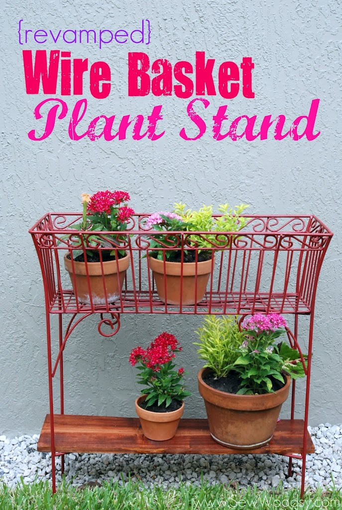 Red wire basket stand with pots and text on image.