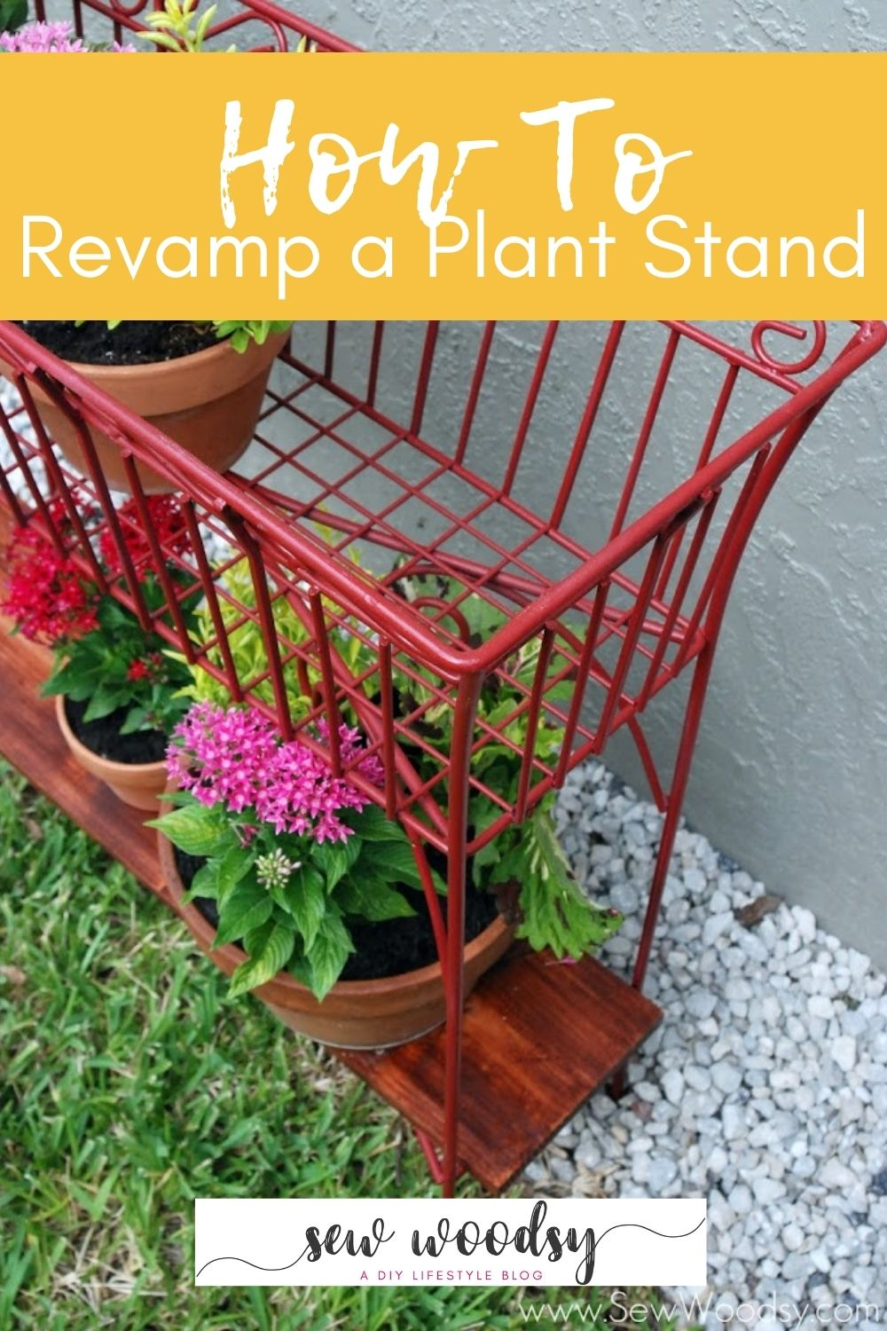 Close up of a red wire plant stand with text on image for Pinterest.