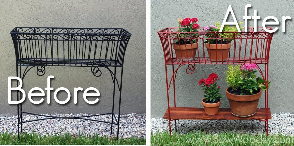 Two photos of a before and after of an upcycled wire rack.