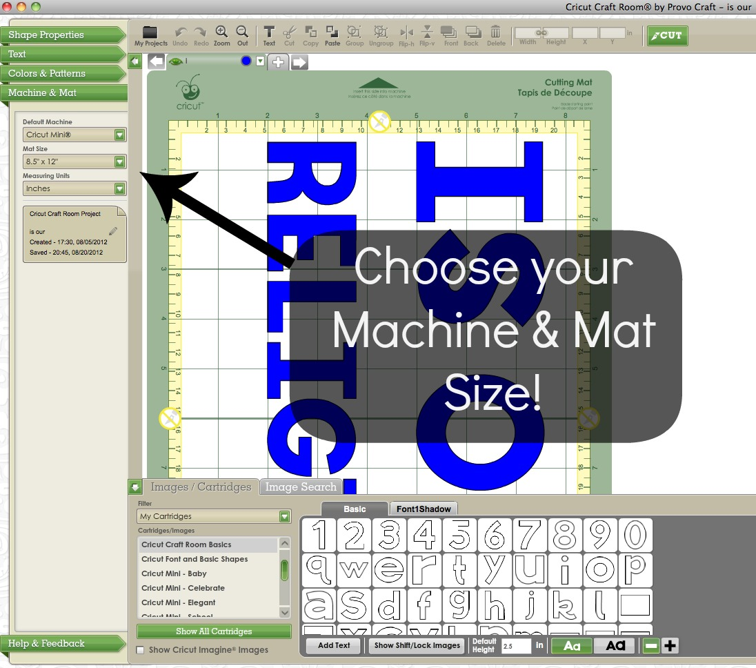 cricut machine and mat size