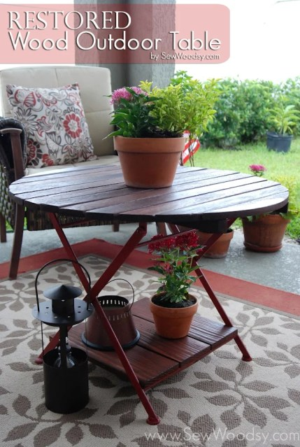 restored wood outdoor table