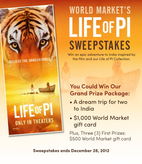 World Markets Life of Pi Sweepstakes