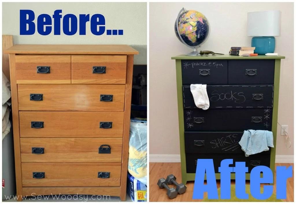 Before-After DIY Chalkboard Painted Dresser