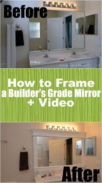 How to Frame a Builder's Grade Mirror (Before and After) via SewWoodsy.com for @HomesDotCom