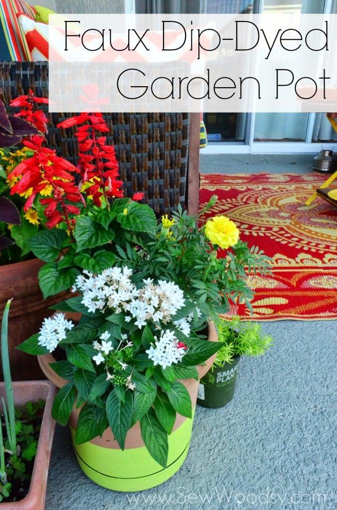 Faux Dip-Dyed Garden Pot via SewWoodsy.com