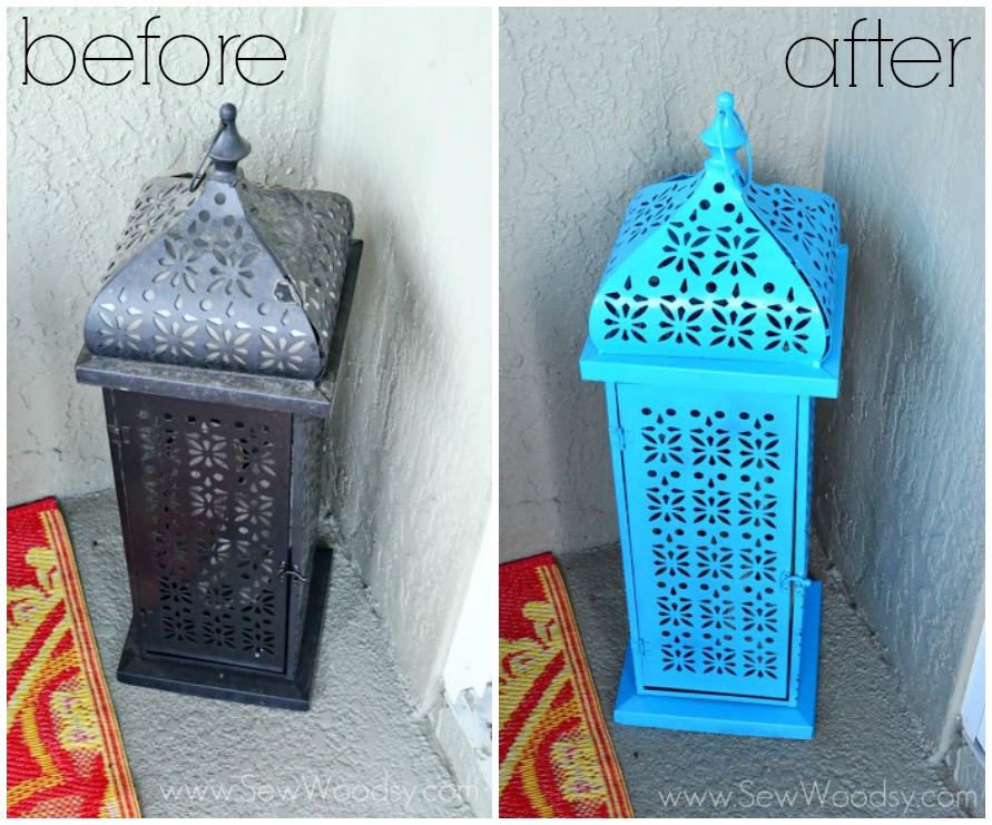 Brighten Up An Old Outdoor Lantern before and after from SewWoodsy.com
