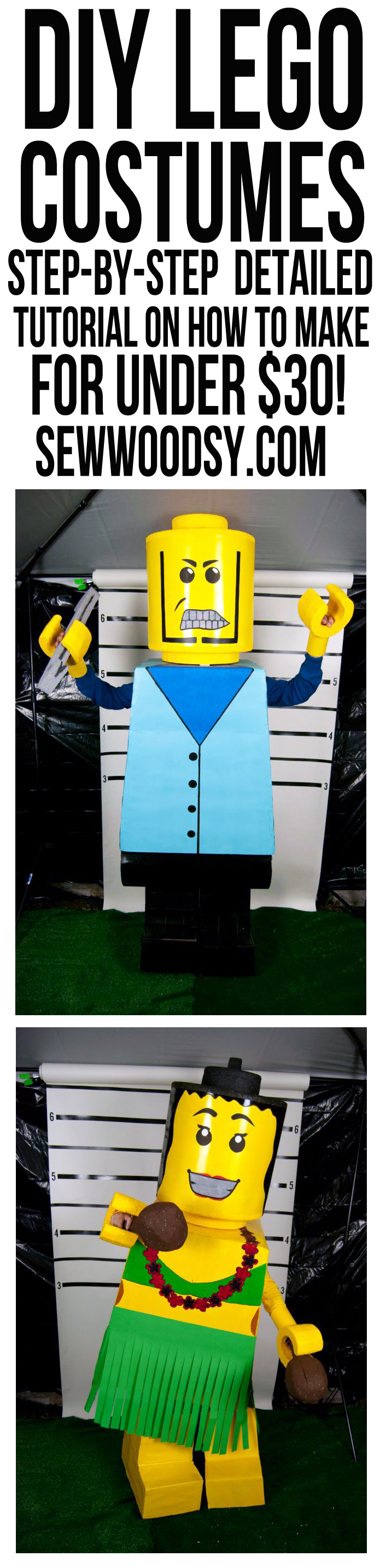 DIY Lego Costumes from SewWoodsy.com #Halloween #Costume