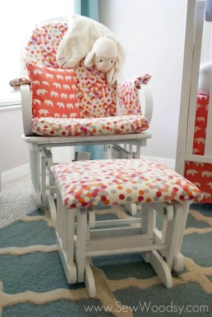 super cute polka dot glider -->> Coral and Aqua Nursery Inspirations from SewWoodsy.com