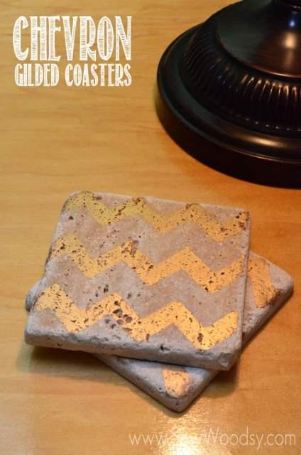 Chevron Gilded Coasters from SewWoodsy.com #12MonthsOfMartha #MarthaStewartCrafts #gift #coasters #craft