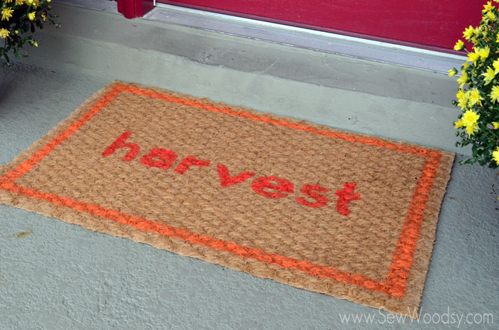 How to Stencil A Fall Door Mat video created for @Homesdotcom made by SewWoodsy.com