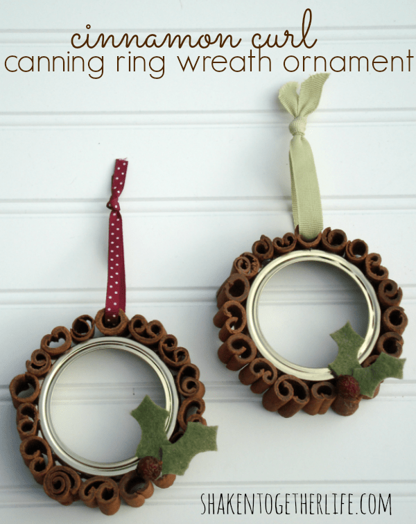 Cinnamon Curl Canning Ring Wreath Ornaments from Shaken Together on SewWoodsy.com