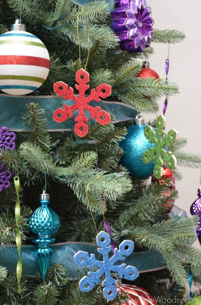 handmade glitter snowflake wooden ornament from SewWoodsy.com