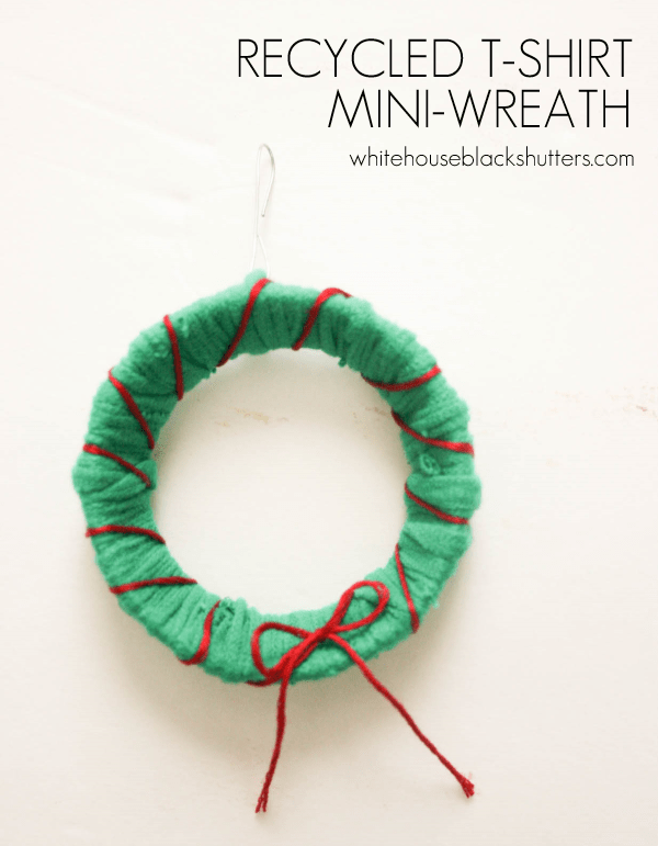 Recycled T-Shirt Mini-Wreath Ornament