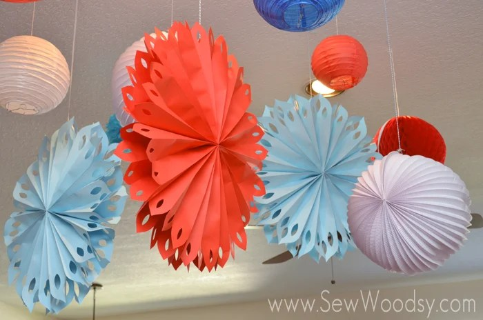 Aqua and Red decorations for baby shower