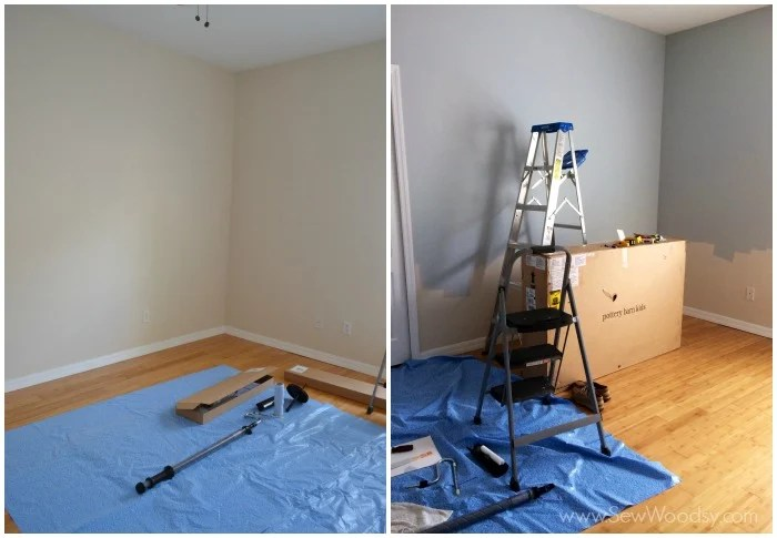 Painting the Nursery the before and after. BEHR Light French Grey