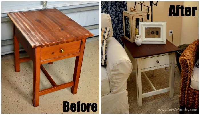 Before and after how to refinish an end table #3MDIY