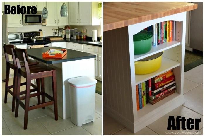 Kitchen Island Custom Bookcase video tutorial created for @homesdotcom by SewWoodsy.com #DIY #kitchen