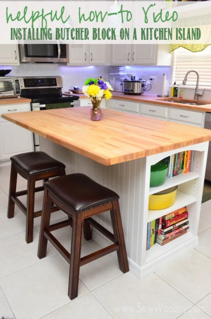 helpful how-to video installing butcher block on a kitchen island