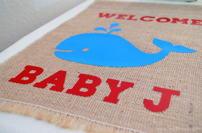 Baby Shower Whale Garden Flag