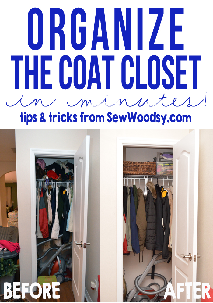 organize the coat closet in minutes -- useful tips and tricks anyone can use!