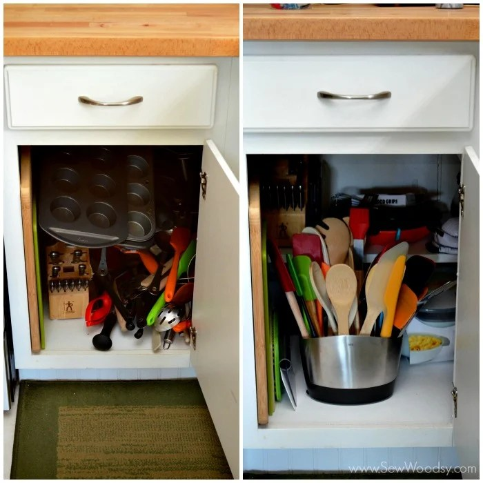 Organizing the Kitchen Cabinets before and after