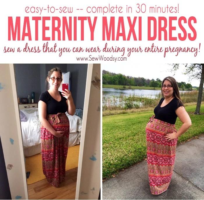 easy to sew Maternity Maxi Dress
