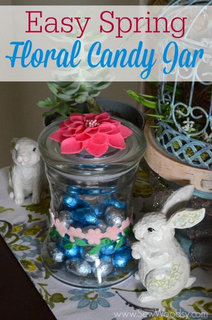 Easy Spring Floral Candy Jar