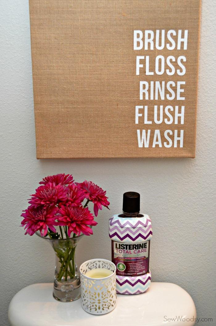 diy burlap bathroom art  #ListerineDesign #bathroom #DIY