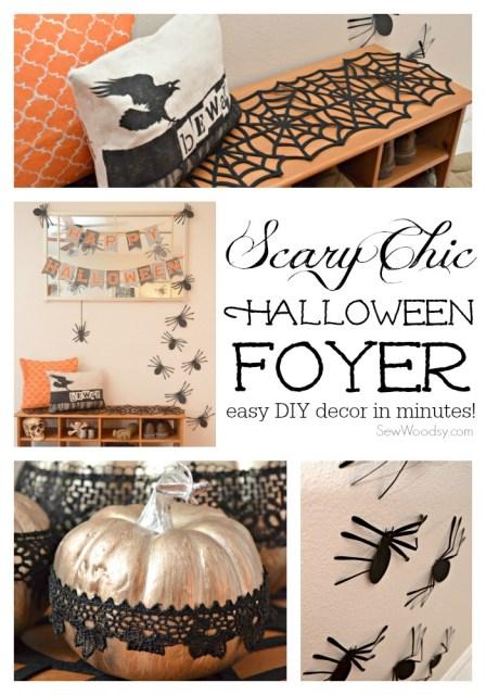 Scary Chic Halloween Foyer #12monthsofmartha #halloweendecor