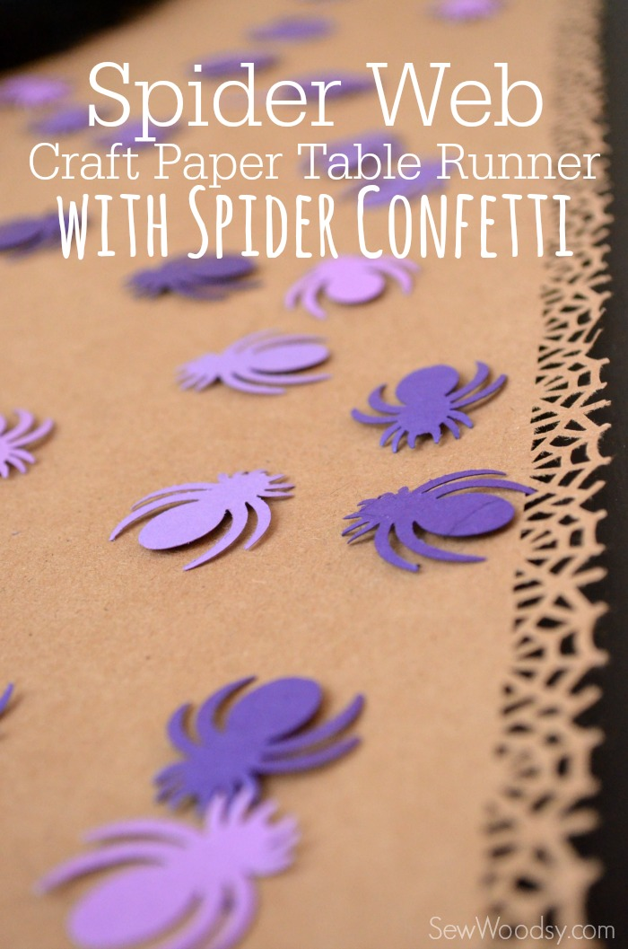 Spider Web Craft Paper Table Runner with Spider Confetti