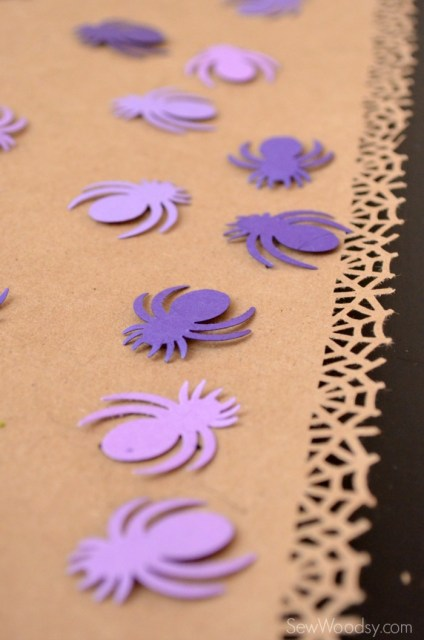 Spider Web Craft Paper Table Runner with Spider Confetti 2