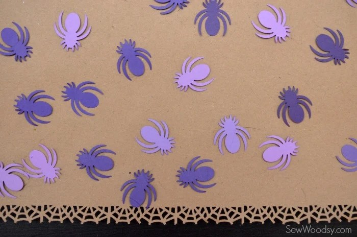 Spider Web Craft Paper Table Runner with Spider Confetti 4