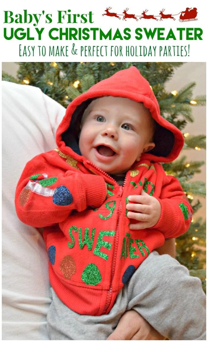 DIY Baby's First Ugly Christmas Sweater #uglysweaterchallenge