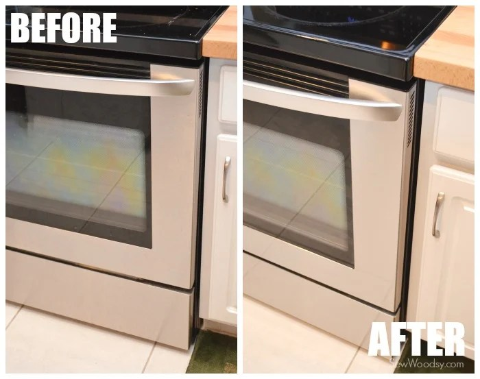 BEFORE AND AFTER Stainless Steel Cleaned Stove